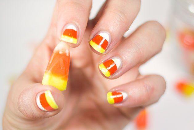 Manucure d'Halloween: Candy Corn
