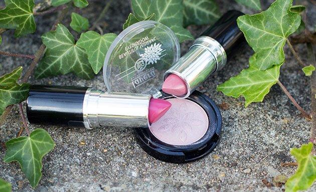 le maquillage bio Lavera rouges à lèvres et fard à paupière