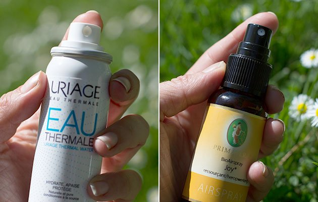 Spray eau thermale Uriage et Bio airspray Primevera huiles essentielles