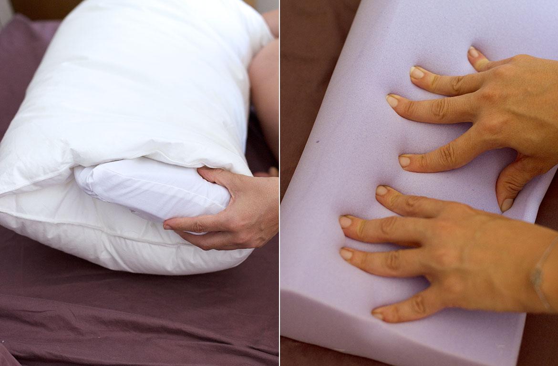 Oreiller Wopilo sur un lit et main qui appuient sur le Coeur en mousse à mémoire de forme