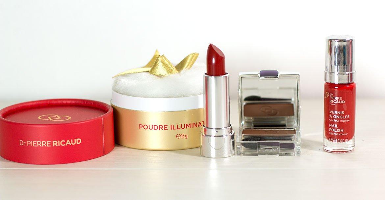 Produits de Maquillage Dr Pierre Ricaud: poudre scintillante, rouge à lèvre, fars à paupière et vernis à ongles