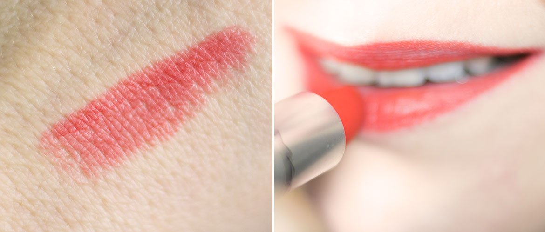 Style Shocked MAC rouge à lèvres orangé Powder kiss swatch et bouche