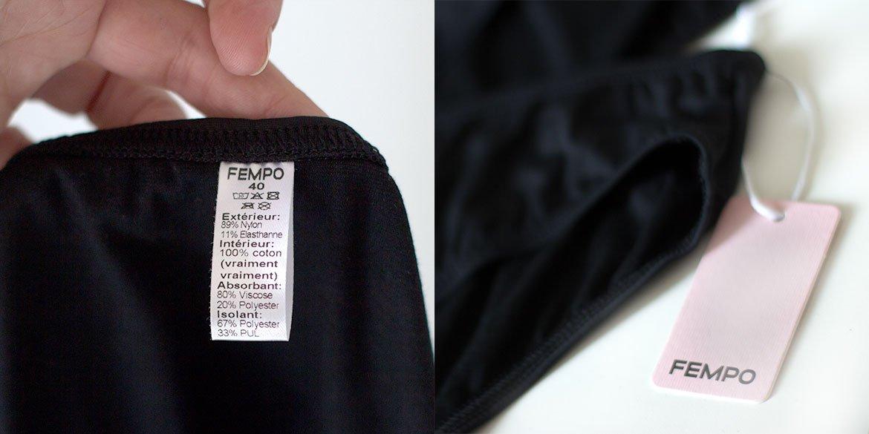 Photos qui montrent étiquette FEMPO et Taille