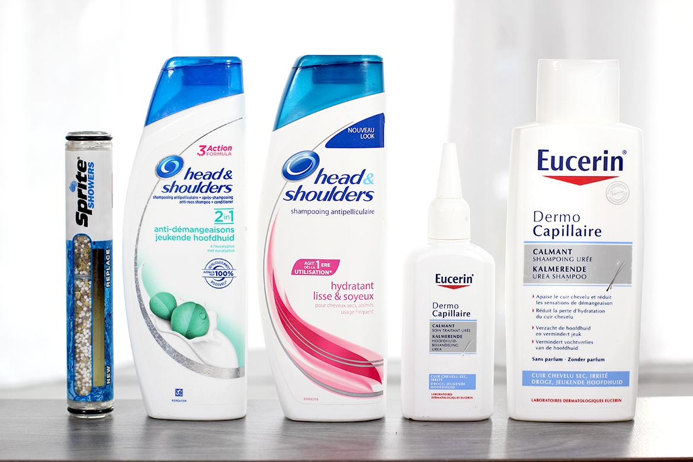 Produits anti-pelliculaires: Head & Shoulders, Eucerin et Filtre de douche
