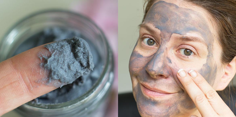 Masque au charbon purifiant Blancreme en train de poser sur visage