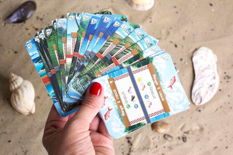 main qui tient cartes du Jeu Palm Island