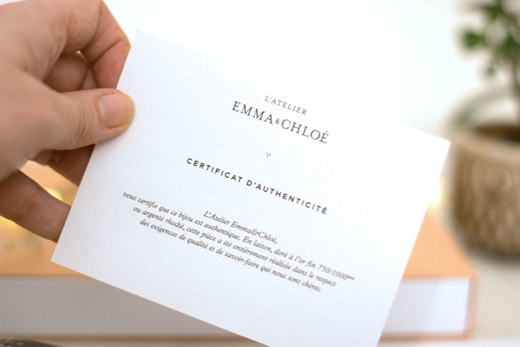 certificat d'authenticité Emma & Chloé